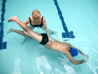 Underwater techniques to increase hip and spine extension for a man with ankylosing spondylitis